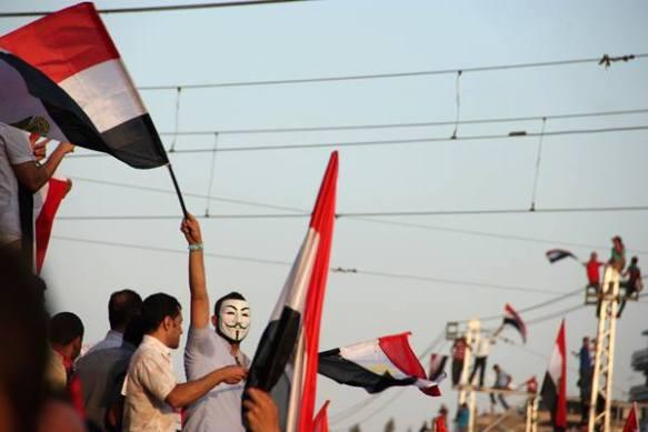 Protesta delante del palacio presidencial de El Cairo, el día del Tamarod. J. Giorgi